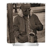 Man Playing His Saxophone Shower Curtain