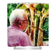 Man Playing Tuba Shower Curtain