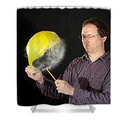 Man Popping A Balloon Shower Curtain