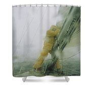Man Reefing Mainsail In Heavy Weather Shower Curtain