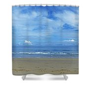Man Riding A Pony On The Beach Shower Curtain