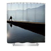 Man Sitting On The Pier Shower Curtain