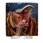 Man Smoking Shower Curtain