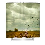 Man Walking In A Farm Field Shower Curtain