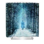 Man Walking Through Snowy Woods Shower Curtain