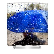 Man With Blue Umbrella Shower Curtain
