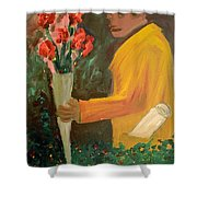 Man With Flowers  Shower Curtain