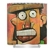 Man With Terracotta Hat And Green Shirt Shower Curtain