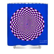 Mandala Figure Number 5 With Rhombus Steps In Black And White And Purple Shower Curtain