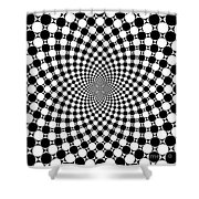 Mandala Figure Number 9 With Black And White Circles Shower Curtain