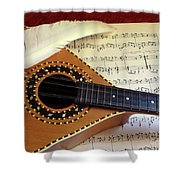 Mandolin And Partiture Shower Curtain
