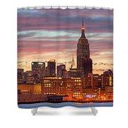 Manhattan Buildings And Pre-sunrise Sky Shower Curtain