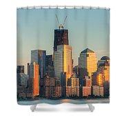 Manhattan Sunset Reflections Shower Curtain