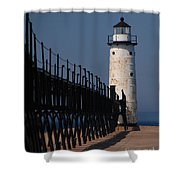 Manistee Harbor Lighthouse And Cat Walk Shower Curtain