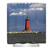 Manistique Lighthouse In Michigan's Upper Peninsula Shower Curtain