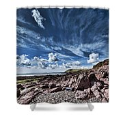 Manorbier Rocks Big Sky Shower Curtain
