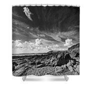 Manorbier Rocks Shower Curtain