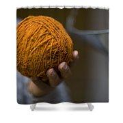 Mans Hand Holds Ball Of Orange Wool Shower Curtain
