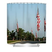 Many American Flags Shower Curtain