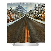 Many Glacier Road Shower Curtain