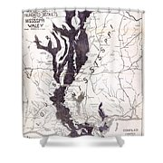 Map: Mississippi River, 1874 Shower Curtain