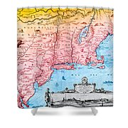 Map Of New Netherland, 1650s Shower Curtain