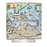 Map Of The Caribbean Islands And The American State Of Florida Shower Curtain