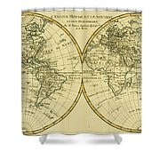 Map Of The World In Two Hemispheres Shower Curtain