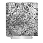 Map Of Virginia, 1624 Shower Curtain