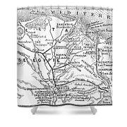 Map: Suez Canal, 1869 Shower Curtain