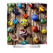 Marbles On Wooden Board Shower Curtain