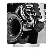 Marching Band Horn Bw Shower Curtain