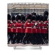 Marching In Red And Black Shower Curtain