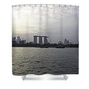 Marina Bay Sands And Flyer Along With Singapore Skyline From The Shower Curtain