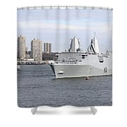 Marines And Sailors Man The Rails Shower Curtain