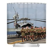 Marines And Sailors Run Aboard Uss Shower Curtain
