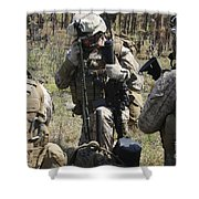 Marines Communicate With Other Elements Shower Curtain