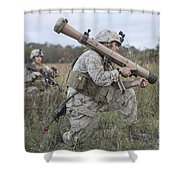 Marines Conduct A Simulated Attack Shower Curtain by Stocktrek Images