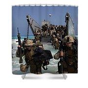 Marines Disembark A Landing Craft Shower Curtain