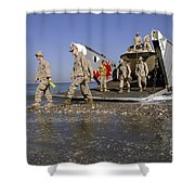 Marines Disembark From A Landing Craft Shower Curtain