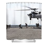 Marines Fast-rope Onto Their Objective Shower Curtain