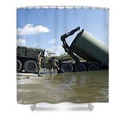 Marines Lower An Improved Ribbon Bridge Shower Curtain