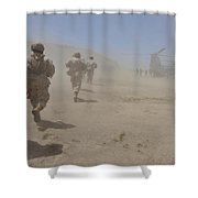 Marines Move Through A Dust Cloud Shower Curtain