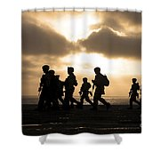 Marines Move To A Firing Line Shower Curtain