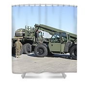 Marines Pick Up Palletized Logistics Shower Curtain