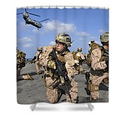 Marines Position Themselves Shower Curtain