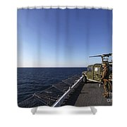 Marines Provide Defense Security Shower Curtain by Stocktrek Images