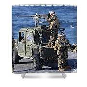 Marines Provide Security Aboard Shower Curtain