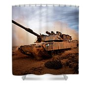 Marines Roll Down A Dirt Road Shower Curtain by Stocktrek Images