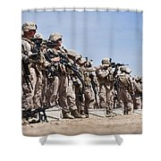 Marines Verify The Battle Sight Zeroes Shower Curtain